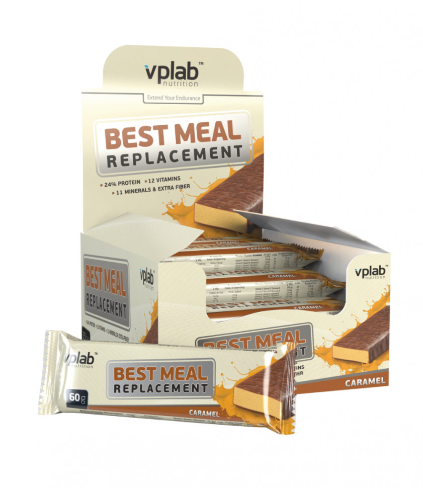 Best Meal Replacement bar Карамель 60гр, VPlab фото 1 — 65fit