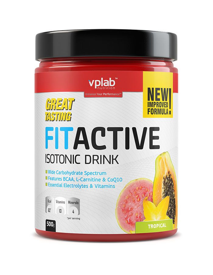 "VPLAB FITACTIVE ISOTONIC DRINK ""Тропические фрукты"" банка 500г фото 1 — 65fit"